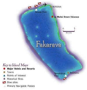 Picture of a map of Fakarava Tahiti showing the main tourist attractions of the island.